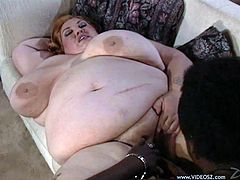 Two incredibly chubby sluts who weighs 200 pounds each lie on the couch like pieces of meat and get their clams eaten by black stud. Then he hammers them mish and cums on their faces.