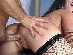Crazy gangbang party for insatiable brunette hoochie