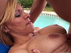 Lascivious light-haired mom has mutual oral sex with dude outdoors and gets rammed mish. Then she rides his pecker in a reverse cowgirl pose and gets doggyfucked.