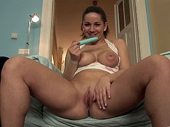 Brown-haired hussy Nicole Sweet, wearing thong, is getting naughty indoors. She rubs her meaty pussy passionately, then pounds it with a dildo and enjoys it a lot.