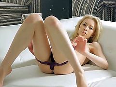Amazing blonde with natural tits and pale body Erica enjoys self serving her tight pussy which is very sweet and delicious. She makes it very wet and juicy with her sloppy fingers