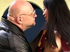Doll with long hair and fake tits gets seduced by a horny bald dude before awarding him with blowjob and her pussy drilled