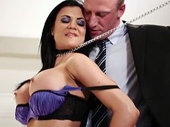 Lovely raven-haired girl sucks fat cock before getting her wet slit drilled mish and doggystyle. Then buddy pokes her in a sideways pose and she rides his tool on top.