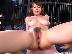 Mind blowing busty chick gives a head and titjob to the buddy before riding his cock in a cowgirl pose. Then she gets her eager snatch polished doggystyle and mish.