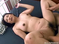 This horny mature Asian enjoys a few dirty fingers inside her yummy ass and gets nailed in a hot threesome with two dudes.