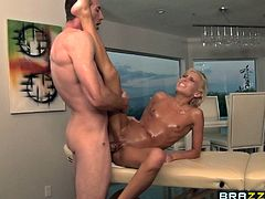 Amazing blonde porn star in a lovely panties oiled as she is massaged then gets aroused as he fingers her shaved pussy before drilling her hardcore