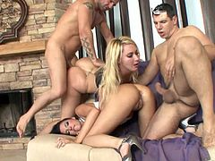 Take a look at this hardcore group sex scene where these kinky ladies are fucked by guys as you get a boner from all the action.
