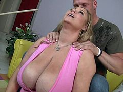 Take a look at this amazing hardcore scene where the chubby blonde milf Samantha 38G is fucked silly by her horny trainer.