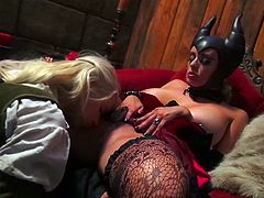 Any lover of lesbian porn needs to check out this extremely exciting sex video. Sexy witch licks Anika's pussy with great enthusiasm pushing her to the edge of powerful orgasm. Then she wants her to return the favor and go down on her.