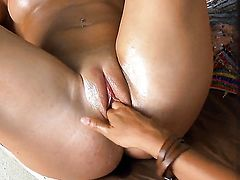 Adria with big melons and bald twat loves pussy licking and cant say No to lesbian Monica