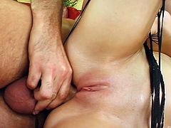 Big breasted goddess Roxane gets fucked in sideways position