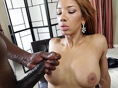 Press play on this hardcore scene and take a look at Sophia Fiore's moans as this light skinned ebony babe is fucked by a black monster cock.