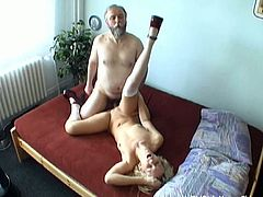 Who said old and young don't make a good fucking couple? Derek pounds Angela's young and shaved pussy and cums on her firm tits.