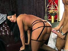 Sexy brunette Anissa Kate, wearing a corset and stockings, lets Danny Mountain play with her pussy. After that they bang in hte cowgirl and other positions.