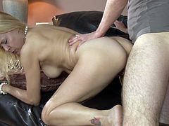 Two sizzling hot blonde bitches provide man with awesome blowjob before getting their wet poontangs pounded doggystyle and mish until getting facialed.