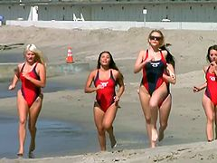 Imagine these five hot babes portraying as lifeguards in the old TV series Baywatch. They have numerous naughty moments here including a solo masturbation, two lesbians making out and a wild nasty gang bang lesbian sex.