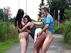 Risky public threesome with a pregnant woman!