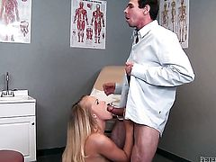 Britney Young has a great desire for cock sucking and Peter North knows it