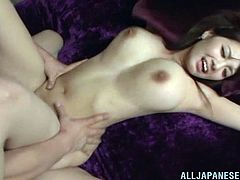 Get a load of Shion Utsunomi's huge natural breasts in this hardcore scene where this sexy Japanese babe is fucked by this guy after blowing him.