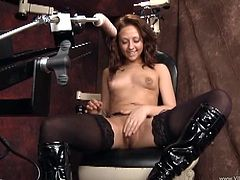 Thrilled solo model in nylon stockings and lovely high heels with piercing yells in excitement as the machine rocks her asshole