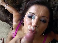 Prepare your cock for this brunette cougar, with giant fake tits wearing a sexy bra, while she sucks a guy's schlong in a POV video.