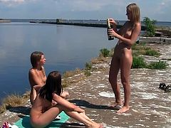 Watch this hot adventure with these three lovely and sexy lesbian babes on a big yacht.See them taking sun baths and spreading sun oil on their hot bodies.That sexy asses and titty babes enjoying themselves.
