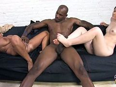 Tia Gunn is Angel Cakes's mom and Flash Brown is Angel's lover. Tia catches them fooling around and she wants to join too. Flash pounds both their pussies.