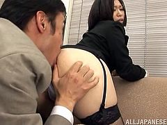 What are you waiting for? Watch this Japanese babe, with a nice ass wearing stockings, while she gets lollipops inside her asshole.