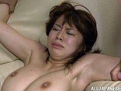 Delectable oriental hottie with big natural boobs spreads her legs getting her hairy fish taco plowed with a dildo. Thereafter she jumps on erected cock in a reverse cowgirl pose.