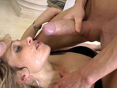 Touch yourself as you watch this blonde lady, with natural jugs wearing high heels, while she gets fucked hard by two lusty dudes.