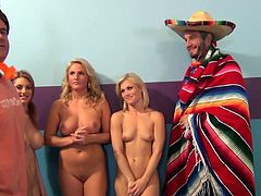 Ash Hollywood, Lilith Lust and Payton Simmons show their nude bodies to Porno Dan and please him with a blowjob. Then the skanks ride Dan's wang by turns and moan crazily.