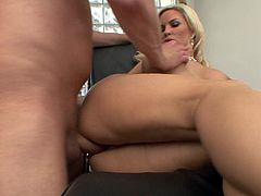 Diamond Foxxx is ready to make your dick hard with her big round tits and her perfect ass. Watch this sexy blonde being fucked by a big cock after sucking on it.