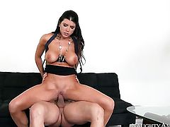 Johnny Castle gets seduced into fucking by Romi Rain with giant knockers and bald beaver