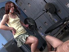 Horny bastard approaches lustful bitch in the locker room and starts seducing her. She takes off her clothes and provides man with awesome blowjob.