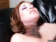 Redhead Ginger Blaze with big boobs fucking herself like crazy in solo scene