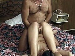 Redda sucks this guy's cock and lets him pound her mature pussy before burying his throbbing bone in her tight MILF asshole.
