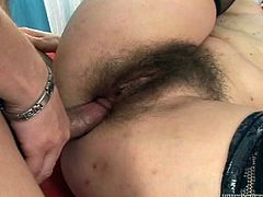Steve Q and horny mom Martha A are playing dirty games indoors. The mature bitch favours Steve with a blowjob, then takes his cock in her hairy twat and enjoys a raunchy moment.