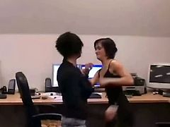 Our partners from Brutal Catfight bring you a hell of a free threesome video where you can see how two kinky brunette sluts get fucked together in the office.