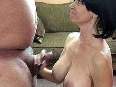 Checkout this mature busty babe Melissa Swallows. This busty brunette housewife Melissa Swallows is on her knees and sucking a small cock of a stranger. You can see this mature slut is experienced in giving pleasure, and when it comes to blowing a cock, who can beat a mature slut like her?