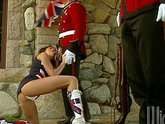 Take a look at this hardcore scene where the slutty Stephanie Swift is fucked by two on duty officials until her face's covered by warm semen.