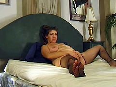 The sexy amateur MILF Kathy wears some sexy fishnet stockings as she gets her yummy pussy licked and fucked by her horny husband.
