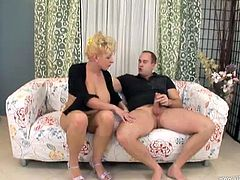 Incredibly busty MILF Niky gives this guy a hot blowjob and sits on his hard cock to ride it like a beast after getting her yummy pussy licked.