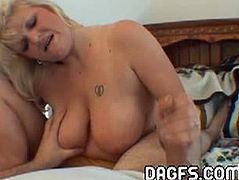 Check out this busty blonde mature having some homemade fun with a cock in the POV style. She starts to jerk it off like a real pro and wants his load on her tits.