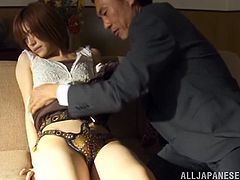 Skinny Japanese bitch Azusa Itagaki, wearing thong, is playing dirty games with a guy indoors. She shows her twat to the dude and lets him rub it and fuck it in the missionary pose.