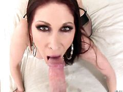 Tiffany Mynx enjoys intense cock sucking in steamy oral action with lucky guy