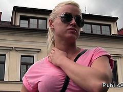 Busty Czech amateur fucks outdoor in public