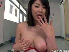 Well-endowed Japanese teacher Homare Momono is playing dirty games with her colleague. She shows her massive natural jugs to the stud, then pleases him with a great titjob.