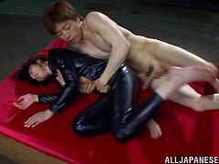 Horny porn star in leather overall with hot ass yells in ecstasy as her pussy is ravished with a vibrator then gets drilled hardcore