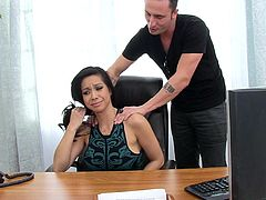 Hot Asian milf Kimmy Lee is playing dirty games with a guy in an office in amazing reality vid. The skank gives a blowjob to the stud and lets him drill her cunt from behind.
