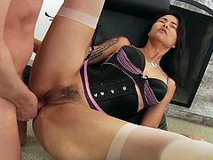Sexy Asian milf Dana Vespoli is trying hard to please a guy. She drives the man crazy with a blowjob, then gets her butt drilled in the missionary pose and doggy style.
